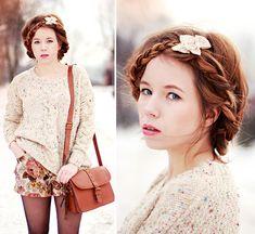 Chicwish Sweater, Romwe Shorts, Bershka Bag  Milkmaid braids with bows.