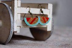 Martinuska / Retro tyrkys/cork earrings