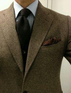 Tweed sc, cashmere sweater & tie, Talbott ancient madder ps