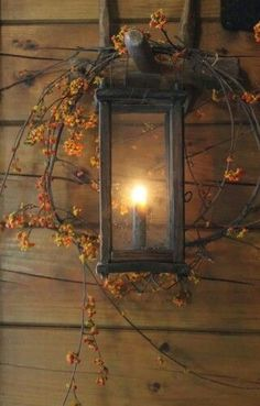 Fall Decor ~ Bittersweet around lantern Autumn Decorating, Primitive Fall Decorating, Decorating Ideas, Porch Decorating, Decor Ideas, Fall Harvest, Harvest Moon, Autumn Home, Autumn Inspiration