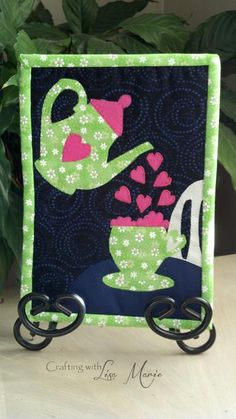 Quilting: Cuppa Love Mug Rug Mini Quilt Valentine