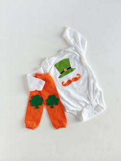 St. Patrick's Day Leprechaun Hat and Mustache One Piece With Shamrock Leg Warmers  #st #patricks #leprechaun #ideas www.loveitsomuch.com