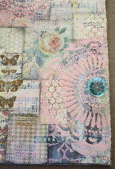 One Lucky Day,step by step art journal cover. I love the girlyness and the stencil Mixed Media Collage, Mixed Media Canvas, Collage Art, Art Journal Pages, Art Journals, Art Journal Covers, Collages, Creative Journal, Pop Art