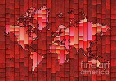 World Map Glasa in Red by elevencorners. World map wall print decor. #elevencorners #mapglasa