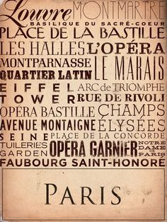 Where to go while in Paris?? Here's a list! Paris France typography graphic art on canvas by geministudio