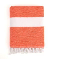 Herringbone Fouta Towel Orange by Nine Space. Made in Turkey. 100% Turkish cotton. 72x40. $45