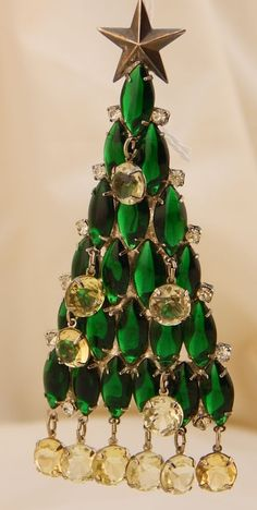 Christmas Tree Pin with green novettes stones and yellowish stones dangling