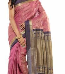 Buy Pink Plain Tussar Silk saree with blouse tussar-silk-saree online