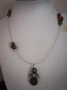Χειροποίητο ενεργειακό κολίε αγγέλων της αφθονίας με ντίζα και ημιπολύτιμες  πέτρες αιματίτη  f392a953057