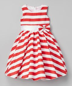 Love this Red Stripe Bow Belted A-Line Dress - Kids & Tween on #zulily! #zulilyfinds