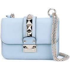 Valentino Garavani small 'Glam Lock' shoulder bag ($1,825) ❤ liked on Polyvore featuring bags, handbags, shoulder bags, blue, valentino purses, blue shoulder bag, lock handbag, chain shoulder bag and valentino handbags