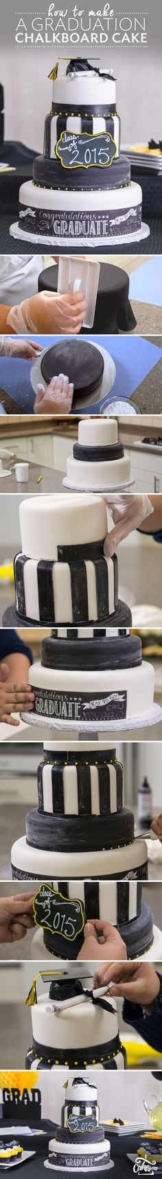 Click for full tutorial and supply list for a chalkboard graduation cake