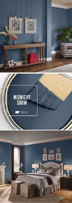 Fall in love with BEHRs color of the month: Midnight Show. This deep moody blue can be used in a variety of spaces throughout your home. Try pairing it with bright white accents or lightly-colored neutral furniture to compliment the dark undertones in My New Room, House Painting, Painting Walls, Wall Painting Colors, Home Painting Ideas, Painting Furniture, Bedroom Paintings, Wall Colours, Paint Colors For Furniture