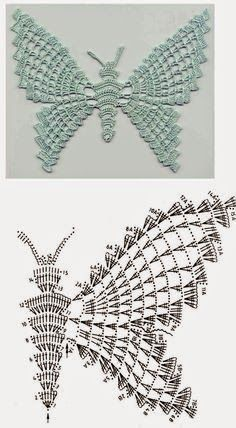 With over 50 free crochet butterfly patterns to make you will never be bored again! Get your hooks out and let's crochet some butterflies!World crochet: Motive - Page 6 Filet Crochet, Beau Crochet, Crochet Motifs, Crochet Diagram, Crochet Chart, Thread Crochet, Irish Crochet, Crochet Doilies, Bobble Crochet