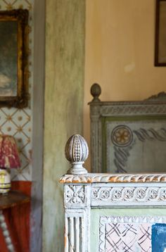 Charleston House. An antique, decorated bed by Vanessa Bell. Beautiful.