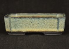 Shohin Rectangle with Angled Corners in Snakeskin Blue Glaze  11.1 x 8.9 x 3.4 cm external by Walsall Studio