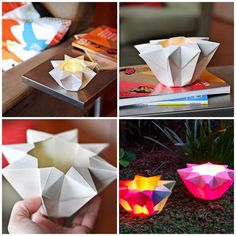 Origami Star Lantern. They're surprisingly easy to make - I churned out my first one in five minutes, and the second one was even easier.