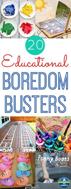 20 Educational Boredom Busters! Great for keeping kids learning and having fun this summer!