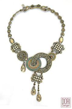 Soutache Necklace, Bridal Necklace, Unique Necklaces, Statement Necklaces, Jewelry Drawing, Art Deco Earrings, Necklace Sizes, Paris, Dory