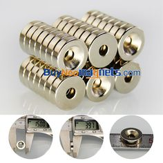 4x  Strong 15mm x 5mm with 5mm Hole Neodymium Disc with Ring Hole Magnets