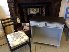 Dresser handed with Paris grey and graphite on top.annie sloan chalk paint
