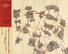 "Guy Debord's 1957 ""Guide Psychogeographique de Paris"" maps a walk through Paris as a series of personal encounters with the unfolding city. Image courtesy of SPUR"