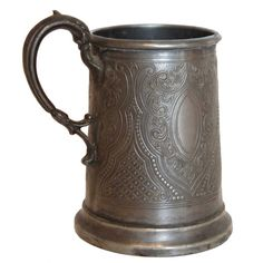 Small English Victorian Pewter Ale / Beer Tankard / Stein Dated 1884 Pewter Tankard, Ale Beer, Victorian, Mugs, Tableware, Sweeney Todd, Stuff To Buy, Nativity, English