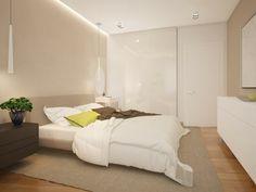 pared de color beige en el dormitorio al estilo minimalista
