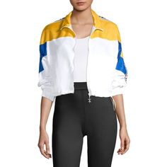 Opening Ceremony Cropped Warm-Up Jacket (€200) ❤ liked on Polyvore featuring outerwear, jackets, zip front jacket, standing collar jacket, stand up collar jacket, logo jackets and opening ceremony