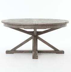 cintra reclaimed wood extending round dining table 63 gray - Round Pine Kitchen Table