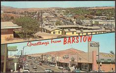 Barstow California - Greetings from Barstow Two Panel Vintage 1964 Postcard US Route 66