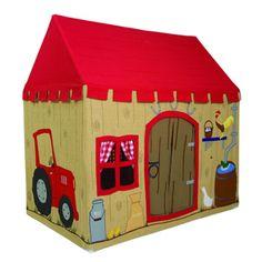 Bienvenue à la ferme! Une idée bien pensée qui développera l'imaginaire et la créativité de vos enfants. Enfin un endroit rien qu'à eux pour jouer, se cacher et se raconter de jolies histoires! Maison en toile de coton avec motifs appliqués et brodés sur fond beige: coq, oie, poussin, tracteur, pot à lait... La toile est lavable en machine et son cadre léger est en aluminium (notice de montage fournie dans le colis). Existe en 2 tailles. A assortir à la ligne Ferme: tapis de jeux (2tailles…
