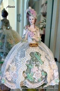 Porcelain Half Doll PincushionDresser by LeesVintageTreasures
