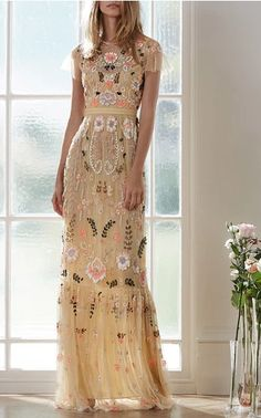 Dust Yellow Floral Embroidered Tiered Maxi Dress by Needle & Thread for Preorder on Moda Operandi. Non white wedding dress, elopement dress, floral wedding dress, short sleeve wedding dress, evening gown Bridesmaid Dresses, Prom Dresses, Formal Dresses, Wedding Dresses, Summer Dresses, Fashion Vestidos, Fashion Dresses, Pretty Dresses, Beautiful Dresses