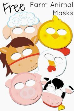 Caretas imprimibles gratis de animales Animal Masks For Kids, Animals For Kids, Mask For Kids, Farm Animals, Animal Mask Templates, Printable Animal Masks, Farm Activities, Animal Activities, Preschool Farm
