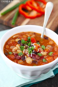 Five Bean Vegetarian Chili - Creme De La Crumb #lunch #recipes #soup #recipe #food