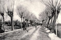 Road with Pollard Willows and Man with Broom - Vincent van Gogh -