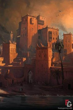 Concept Art of Serpent's Head Inn in Khemi /// awesome monochromatic palette… story city Snow Like Ashes Kingdoms Guide: Summer Concept Art Landscape, Fantasy Concept Art, Fantasy Landscape, Fantasy Artwork, Landscape Art, Landscape Designs, Desert Landscape, Space Fantasy, Landscape Lighting