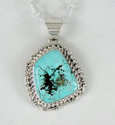 Authentic Native American Navajo Pilot Mountain Turquoise Pendant by Freddie Charley Navajo