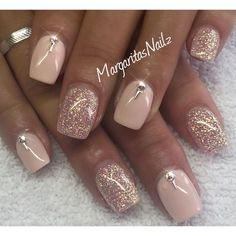 Nude and glitter nails @MargaritasNailz #GlitterNails