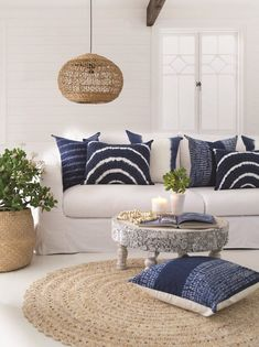 How Japanese Interior Layout Could Boost Your Dwelling Lili Pendant Lamp Round Green Design Gallery Cottage Living Rooms, Coastal Living Rooms, Coastal Cottage, Coastal Style, Boho Style Decor, Nautical Style, Lake Cottage, Cottage House, Cozy Cottage