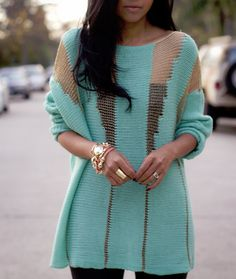 Love the cutouts in this turquoise sweater Moda Outfits, Cute Outfits, Beautiful Outfits, Look Fashion, Womens Fashion, Fashion 2014, Fall Fashion, Fashion Shoes, Mode Inspiration