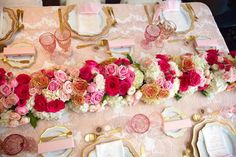 Dining tabletop from a Pink Tutu Cute Themed Ballerina Baby Shower via Kara's Party Ideas | KarasPartyIdeas.com - The Place for All Things Party! (9)