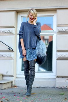 More on ohhcouture.com | Streetstyle: over the knee boots, furry bag, layering #ohhcouture #leoniehanne
