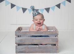 Boys Half Birthday Small Party Hat - Boys 1/2 Birthday Party Hat - Chevron Grey and Aqua La La Lola Shop