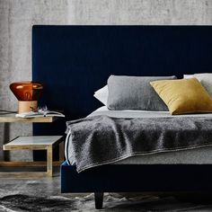 Mirabelle is a clean-lined, modern bedhead design that spans wider than the mattress and sits low to the floor. A queen size width is 2700 and king Bedhead Design, River Cottage, Upholstered Beds, Bed Head, Blue Walls, Beautiful Bedrooms, Queen Size, Mattress, Master Bedroom