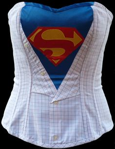 Superman themed corset - very cool DIY idea! (my next comic con costume)