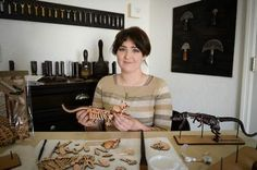 Becker has spent three and a half years perfecting her design for the leather dinosaur skeleton models she builds by hand. She calls them Skelosaurz. Skeleton Model, Dinosaur Skeleton, Dinosaur Fossils, Leather Art, Sculpting, Models, Artist, Community, Design