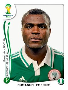 Emmanuel Emenike of Nigeria. 2014 World Cup Finals card. Football Stickers, Football Cards, Football Soccer, Football Players, Baseball Cards, World Cup 2014, Fifa World Cup, Lionel Messi, World Cup
