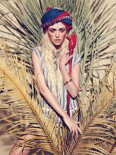 tribal model fashion scarf palm cactus